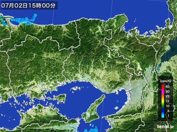 兵庫県の雨雲レーダー(2015年07月02日)