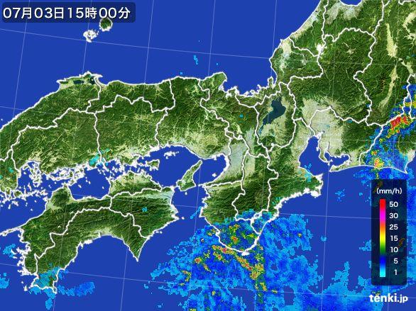 近畿地方の雨雲レーダー(2015年07月03日)