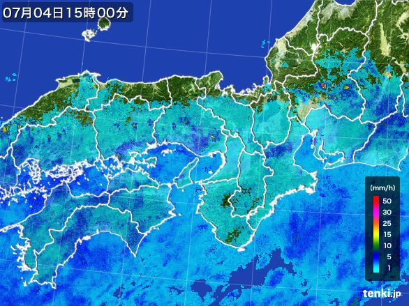 近畿地方の雨雲レーダー(2015年07月04日)