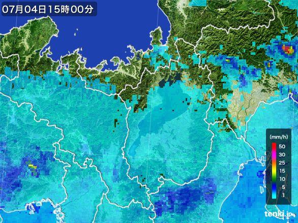 滋賀県の雨雲レーダー(2015年07月04日)