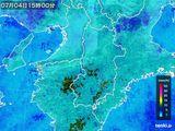 2015年07月04日の奈良県の雨雲レーダー
