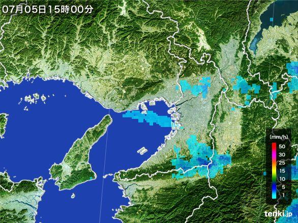 大阪府の雨雲レーダー(2015年07月05日)