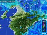 2015年07月07日の奈良県の雨雲レーダー