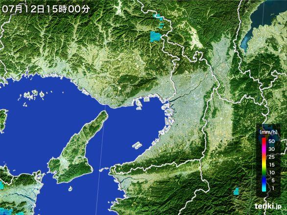 大阪府の雨雲レーダー(2015年07月12日)