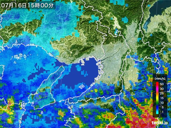 大阪府の雨雲レーダー(2015年07月16日)