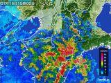 2015年07月16日の奈良県の雨雲レーダー