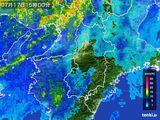 2015年07月17日の奈良県の雨雲レーダー