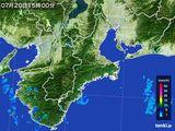 2015年07月20日の三重県の雨雲レーダー