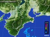 2015年07月25日の三重県の雨雲レーダー