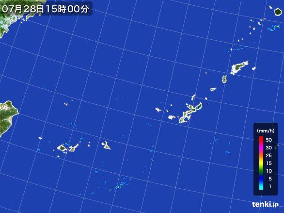 沖縄地方の雨雲レーダー(2015年07月28日)