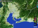2015年07月28日の愛知県の雨雲の動き