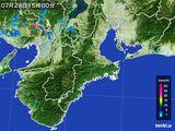 2015年07月28日の三重県の雨雲レーダー