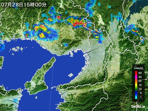 大阪府の雨雲レーダー(2015年07月28日)