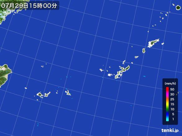 沖縄地方の雨雲レーダー(2015年07月29日)