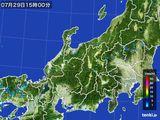 2015年07月29日の北陸地方の雨雲の動き