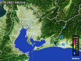 2015年07月29日の愛知県の雨雲の動き