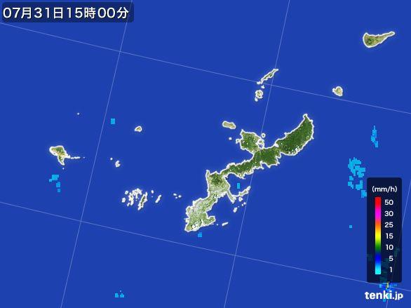 沖縄県の雨雲レーダー(2015年07月31日)