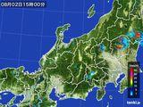 2015年08月02日の北陸地方の雨雲の動き