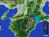 2015年08月03日の奈良県の雨雲レーダー
