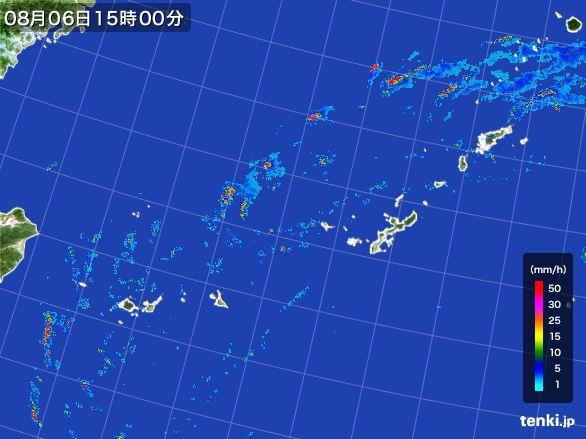 沖縄地方の雨雲レーダー(2015年08月06日)