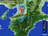 2015年08月06日の奈良県の雨雲レーダー
