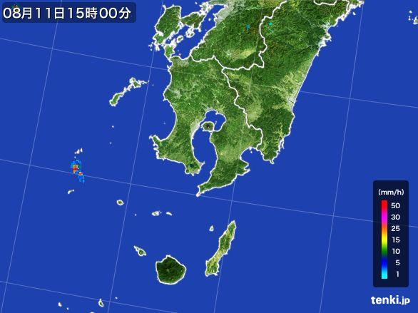 鹿児島県の雨雲の動き(2015年08月11日)
