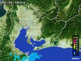 2015年08月12日の愛知県の雨雲の動き