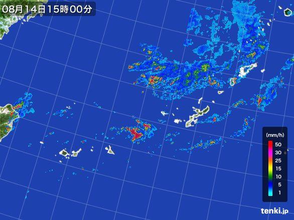 沖縄地方の雨雲レーダー(2015年08月14日)