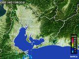 2015年08月14日の愛知県の雨雲の動き