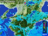 2015年08月16日の奈良県の雨雲レーダー