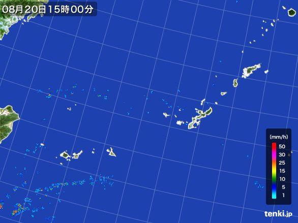 沖縄地方の雨雲レーダー(2015年08月20日)