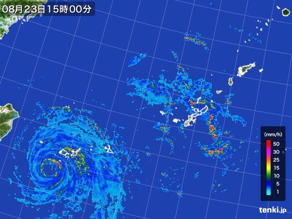 沖縄地方の雨雲レーダー(2015年08月23日)