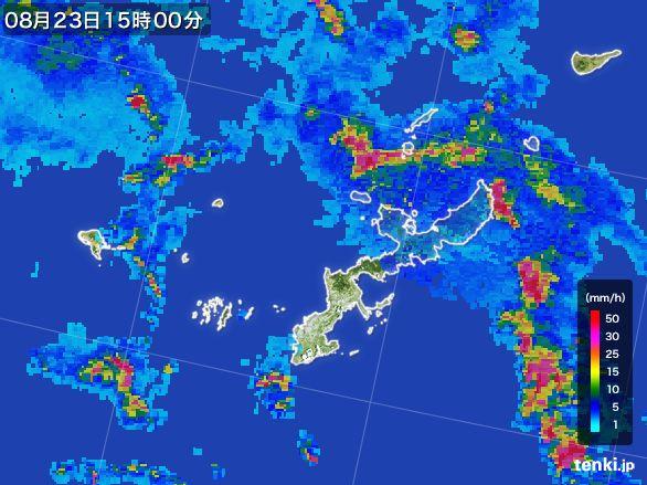 沖縄県の雨雲レーダー(2015年08月23日)