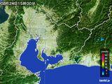 2015年08月24日の愛知県の雨雲の動き