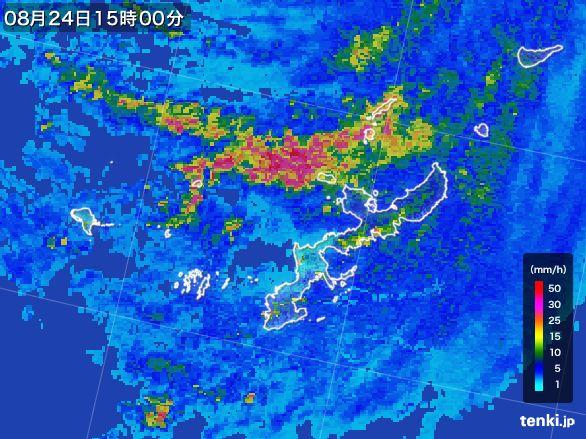 沖縄県の雨雲レーダー(2015年08月24日)