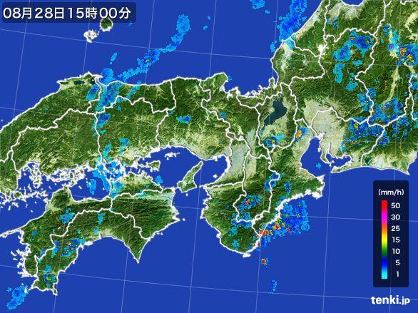 近畿地方の雨雲レーダー(2015年08月28日)