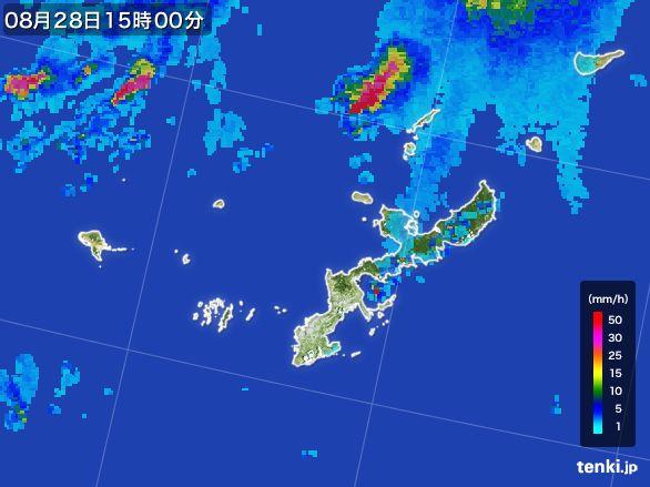 沖縄県の雨雲レーダー(2015年08月28日)