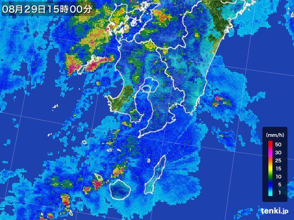 鹿児島県の雨雲レーダー(2015年08月29日)