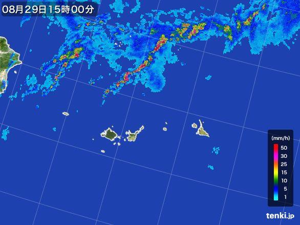 宮古島・石垣・与那国(沖縄県)の雨雲レーダー(2015年08月29日)