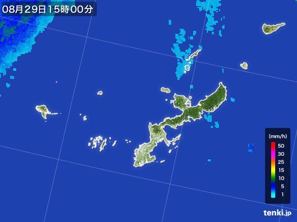 沖縄県の雨雲レーダー(2015年08月29日)
