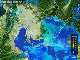 2015年08月30日の愛知県の雨雲の動き
