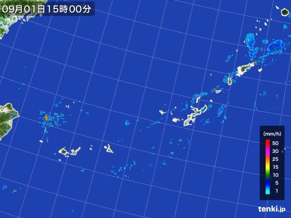沖縄地方の雨雲レーダー(2015年09月01日)