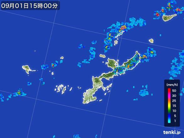沖縄県の雨雲レーダー(2015年09月01日)