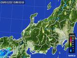 2015年09月02日の北陸地方の雨雲の動き