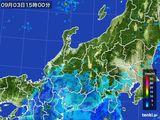 2015年09月03日の北陸地方の雨雲の動き