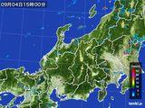 2015年09月04日の北陸地方の雨雲の動き
