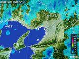 2015年09月16日の大阪府の雨雲レーダー