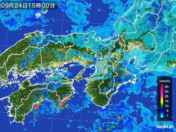 近畿地方の雨雲レーダー(2015年09月24日)