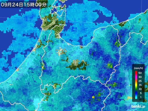 富山県の雨雲レーダー(2015年09月24日)