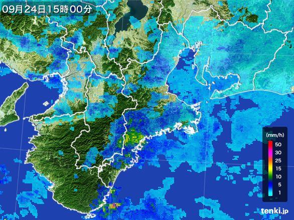 三重県の雨雲レーダー(2015年09月24日)